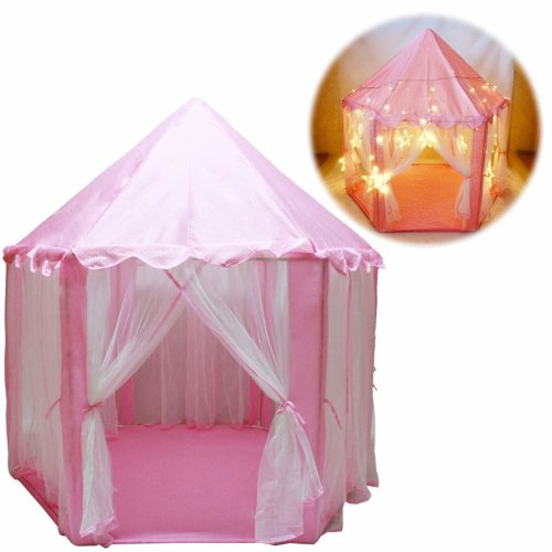deAO Durable Princess Castle Play Tent with Large Star Lights Included – Great for Indoor & Outdoor Games for Kids (Pink)