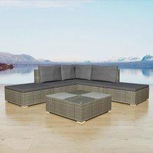 42745 vidaXL 15 Piece Garden Sofa Set Poly Rattan Grey (UK/IE/FI/NO Only)