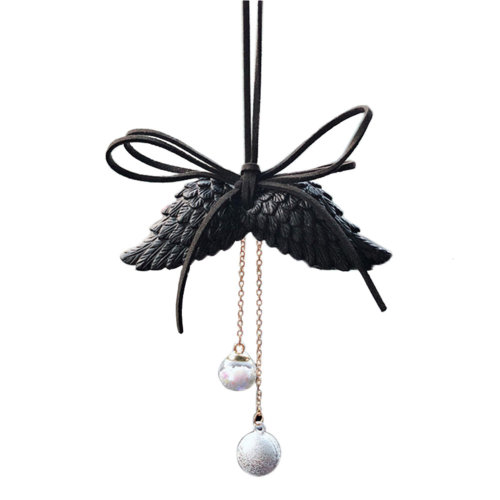 Womens Black Resin Wing Car Interior Rearview Mirror Hanging Ornament Decorations