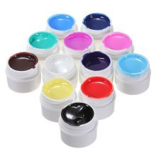 12 Pure Colors Nail Art UV Gel Builder Polish Set