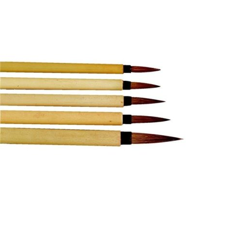 Stanislaus Imports 443477 Fine Brown Hair Bamboo Handle Watercolor Paint Brush Set, Assorted Size, Set of 3
