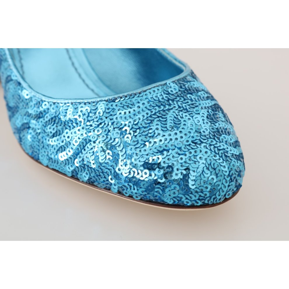 77f56b6f1c ... Dolce & Gabbana Blue Sequined Mary Janes Shoes - 5. >