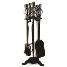 Pewter 5 Piece Spiral Fireset -  companion set crafters fireplace tools pokers shovel tongs fireside inglenook black pewter 5 piece spiral handle