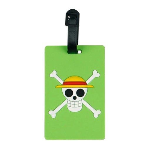 Set Of 2 Luggage Tag Bag Tags Silicone Name Tag Travel Tag [Green Skull]