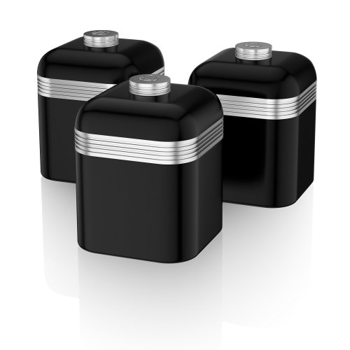 Swan SWKA1020BN Set of 3 Retro Storage Canisters, Black