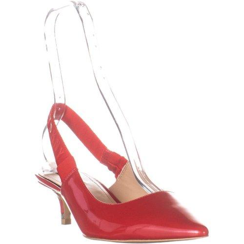 DKNY Dorris Pointed Toe Back Strap Slip On Sandals, Red Patent, 7 UK