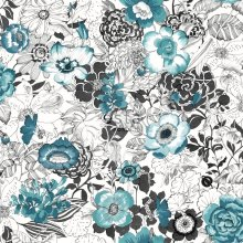 HD non-woven wallpaper flowers turquoise and black