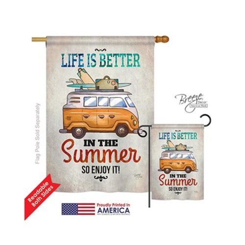 Breeze Decor 06077 Summer Better in Summer 2-Sided Vertical Impression House Flag - 28 x 40 in.