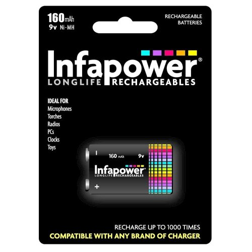Infapower B007 Rechargeable 9v Ni-MH Batteries 160mAh