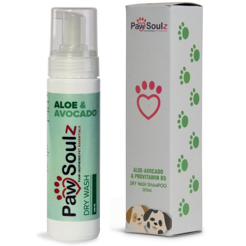 Paw Soulz Aloe Vera - Avocado - Provitamin B5 - Advanced Natural Dry Wash - Foam Shampoo Spray for Dogs & Puppies - No Water Needed - Cleans,...