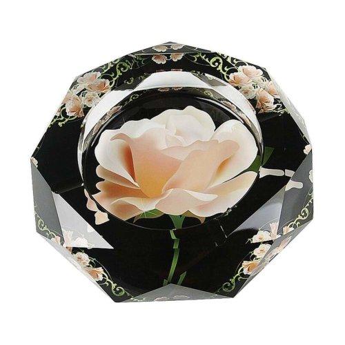 [Flower-4] Rhombus Shape Crystal Cigarette Ashtray Ash Tray Tabletop Decoration