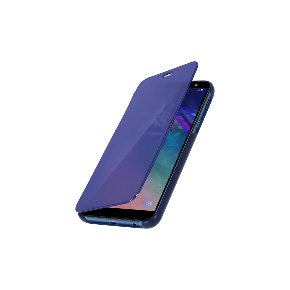 the latest 0d378 6130a Flip Case, Mirror Case for Samsung Galaxy A6 Plus, Standing Cover - Blue