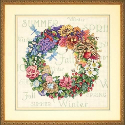 D35040 - Dimensions Counted X Stitch - Gold, Wreath of All Seasons