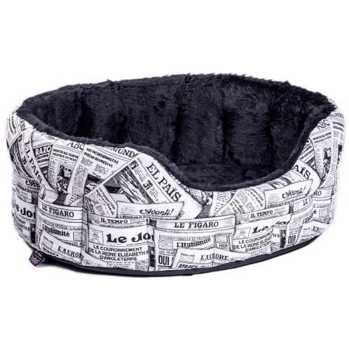 Heavy Duty Fur Lined Oval Drop Front Softee Bed News Design Black/white Size 5 76x64x24cm