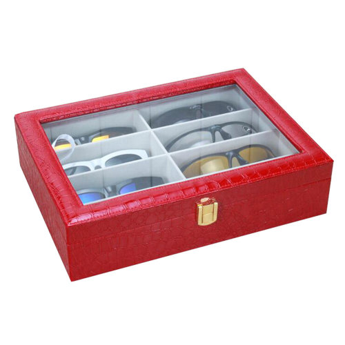 Leather Storage Case Eyeglasses Display Organizer Box– 8 Compartments (Red)