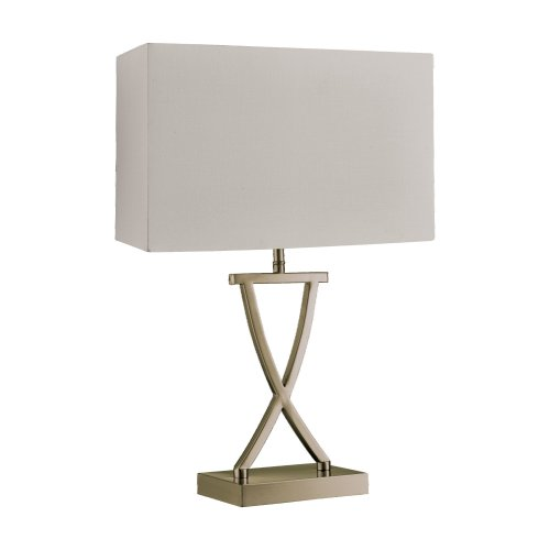 Searchlight Club Table Lamp Antique Brass Cream Rectangle Shade