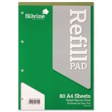 Silvine A4 Refill Pad Narrow Feint 80 Sheets - Pack Of 6 -  silvine refill pad a4 punched ruled narrow headbound a4rpnf 80 leaf perforated 75gsm feint