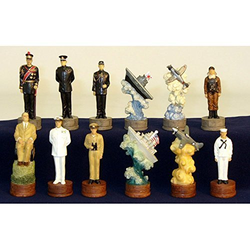 Pearl Harbor Painted Resin Chess Pieces