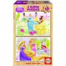 Jigsaw Puzzle - 2 x 16 Pieces - Wooden Puzzle : Disney Princesses