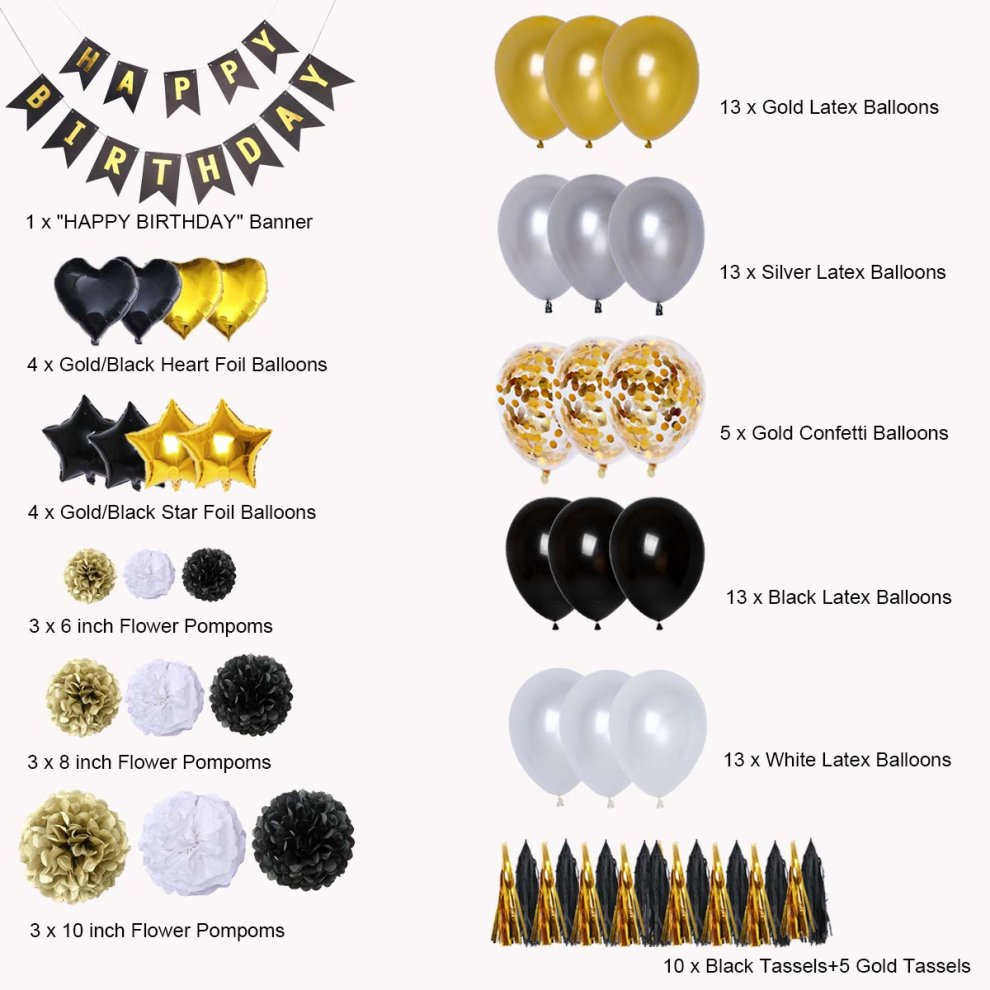 BRT Black And Gold Party Decorations90Pcs Happy Birthday Banner Star Heart Foil Balloons