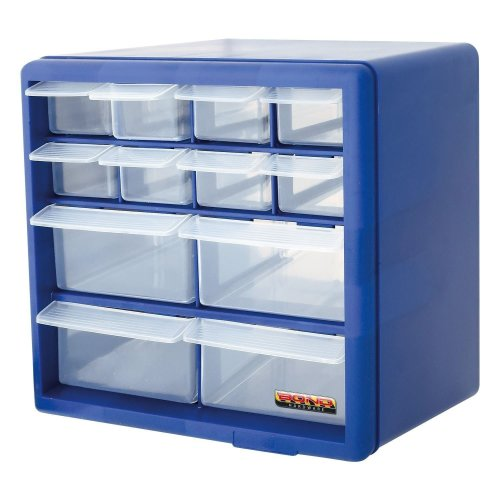 Blue 12 Drawer Multi Tools DIY Storage Cabinet Organiser Box Storing Nuts Bolts