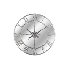Silver Foil Mirrored Wall Clock- 86cm Diameter-Beautiful Wall Feature.