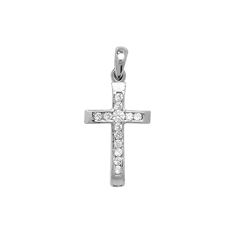 """9ct GOLD PLATED CZ SET CROSS 14 16 18 20 22 24/"""" INCH CHAIN OPTIONS IN GIFT BOX"""