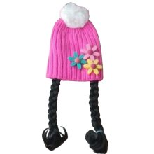 [Pink Sunflower] Cute Baby Girl Knitted Hat Kids Cap with Braids