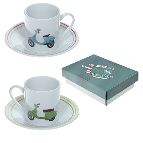 Puckator Scooter Espresso Cup and Saucer Set of 2