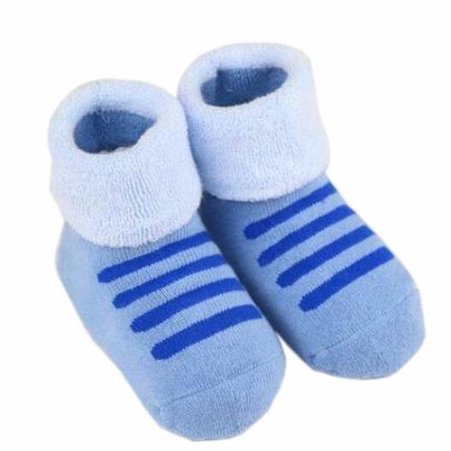 Set of 2 Newborn Thick Warm Cotton Socks 0-24 Months Baby Blue