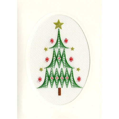 Bothy Threads Cross Stitch Kit - Christmas cards :   Christmas Tree  XMAS24