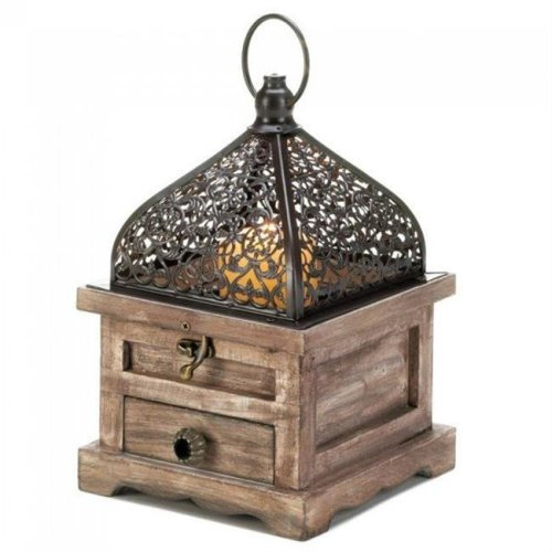 Aewholesale 10018059 8 in. Flip-Top Wood Lantern with Drawer