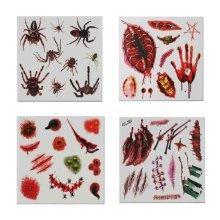 Set of 8 Halloween Scared Tattoo Stickers, Disposable and Waterproof [A]