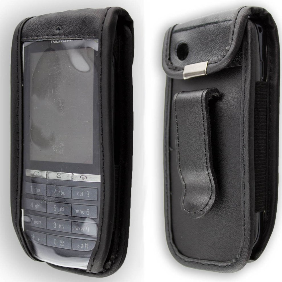 pretty nice d7b34 1107f caseroxx Leather-Case with belt clip for Nokia Asha 300 made of real  leather with belt-clip in black