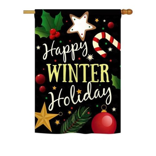 Breeze Decor BD-XM-H-114148-IP-BO-DS02-US Happy Winter Holiday Winter - Seasonal Christmas Impressions Decorative Vertical House Flag - 28 x 40 in.