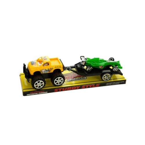 Kole Imports KL255-8 12.5 x 3.5 in. Friction Off Road Trailer Truck with Race Car, Pack of 8