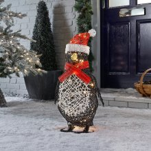 Winter Workshop - 60cm Battery Operated Outdoor Rattan Penguin Christmas Figure - 40 Multi-Functional Timed Warm White LED Lights
