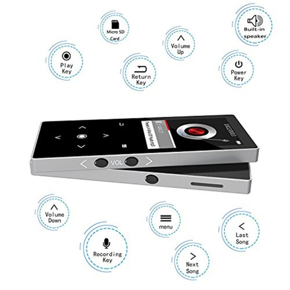 CFZC Bluetooth MP3 Player, Music Player 16GB with Speaker Portable Lossless  Metal MP4 Player with FM Radio-Expand 64GB micro SD card slot