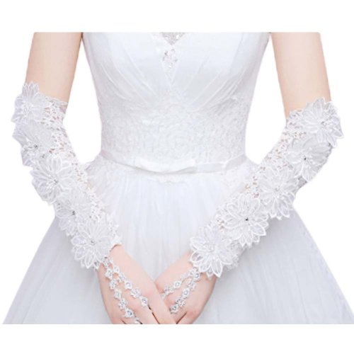 Bridal Wedding Gloves Party Dress Lace Long Gloves A08