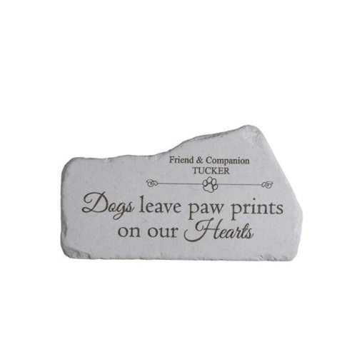 16.5 x 9.25 in. Dogs Leave Pawprints Memorial in Mountain Stone