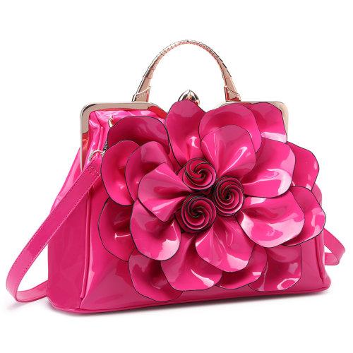Miss Lulu Women Big Flower Handbag Patent Leather Cross Body Shoulder Bag