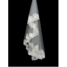 European 2 Meter Long Single-layer Bone Lace Bridal Wedding Veil With Comb,Beige