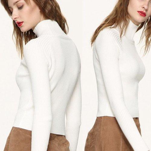 Autumn Long Sleeve Slim Jumper Knit Turtleneck Sweater Casual Tops