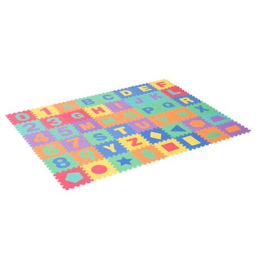 HOMCOM 48 pcs EVA Foam Kids Puzzle Play Mat Jigsaw Activity Interlocking Tiles Alphabet Number Geometry Baby Children