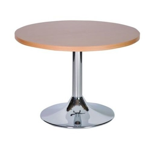 Ramizon Coffee Table Chrome and Wood Commercial Quality Oak 60cm Round