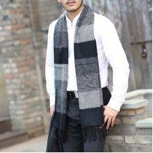 Men Artificial Cashmere Stripe Tassel Scarves Long Neckerchief Fringe Shawl Wrap