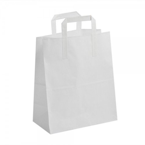 50 Large White Kraft Paper SOS Flat Handle  Paper Bags  25cm x 30cm X 14cm