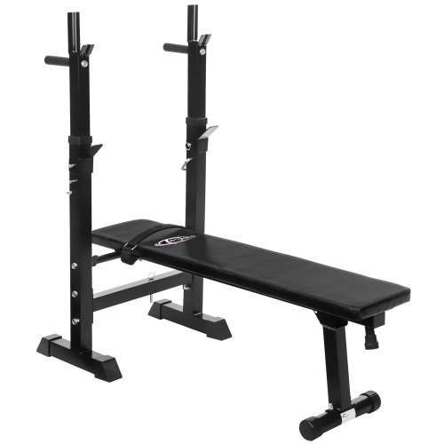 Weight bench with barbell rack