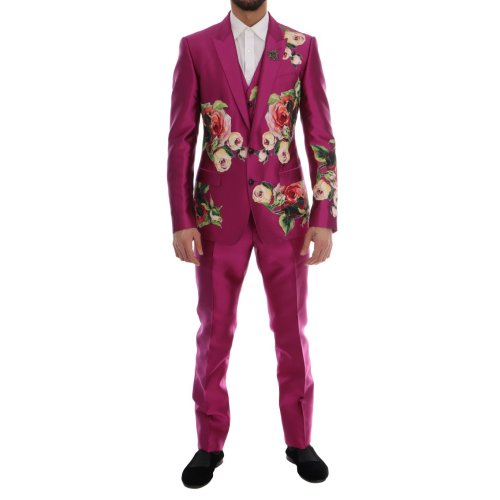 Dolce & Gabbana Pink Silk Crystal Bee MARTINI 3 Piece Suit