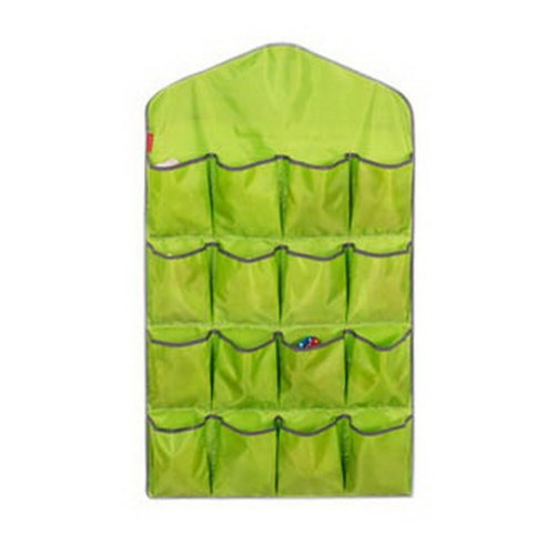 16-Pocket Wardrobe Lingerie Organizer Closet Socks Larger Wall Hanging Bag Green